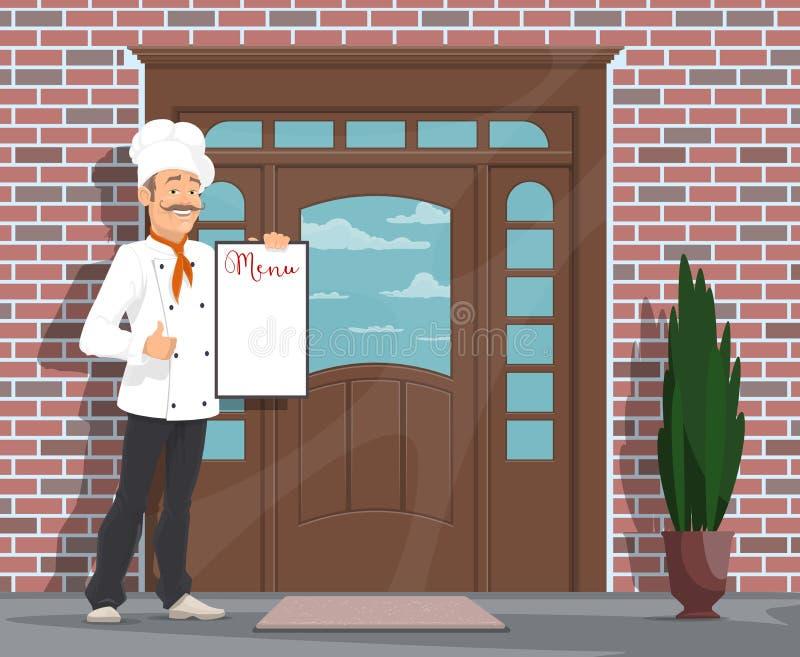 Vector al hombre del cocinero con el menú que invita al restaurante stock de ilustración