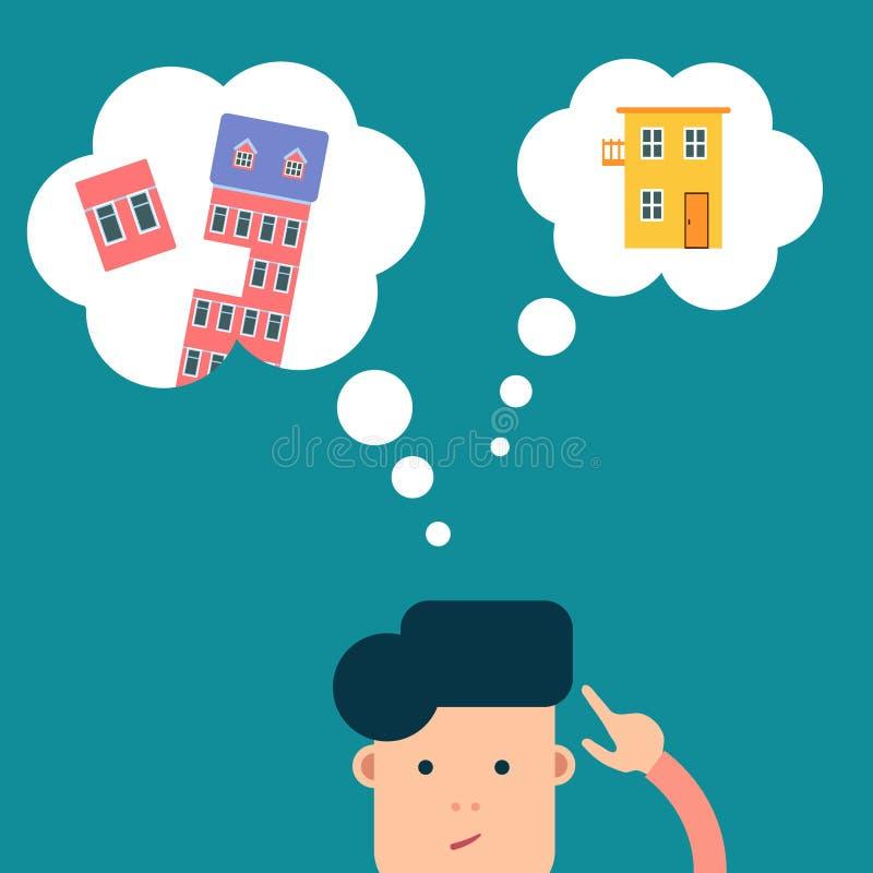 Vector al hombre plano que piensa en casa o el apartamento imagen de archivo libre de regalías