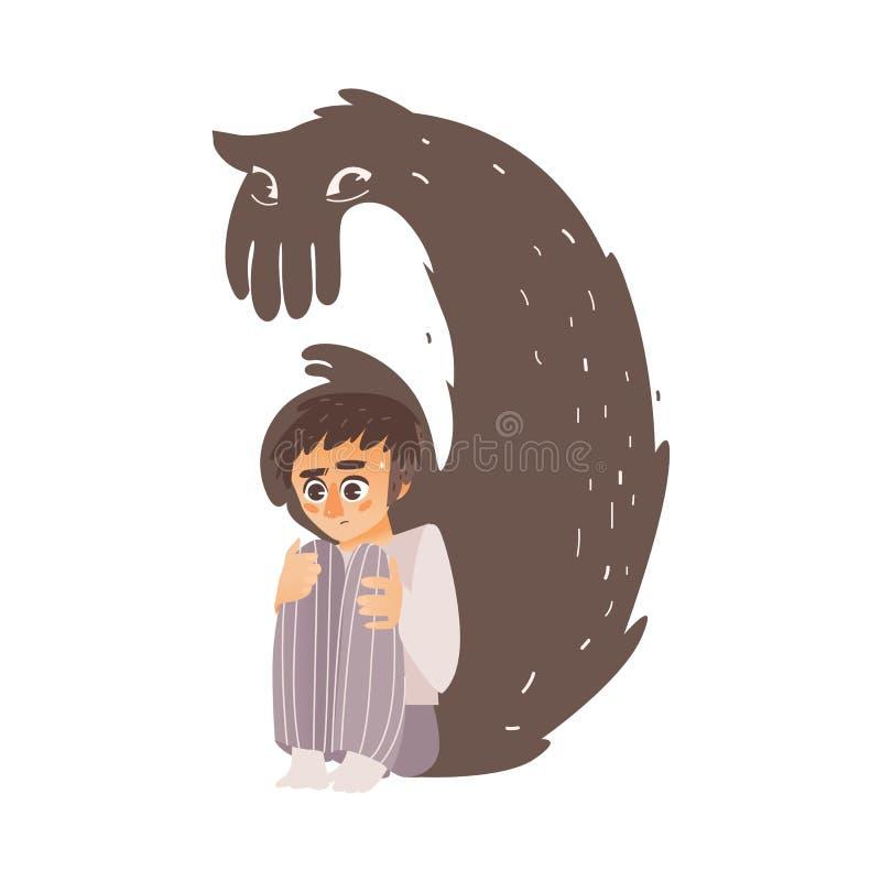 Vector al hombre plano que sufre de la depresión, miedo stock de ilustración