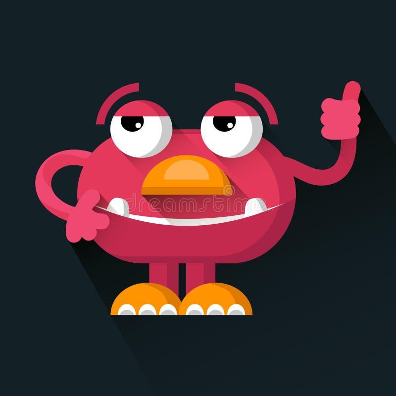 Vector al monstruo divertido rosado lindo en estilo plano de moda ilustración del vector