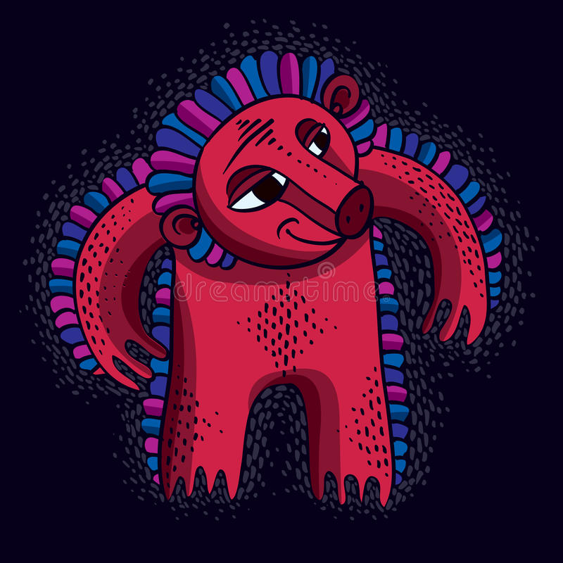 Vector al monstruo enojado de la historieta fresca, ingenio extraño rojo simple de la criatura libre illustration