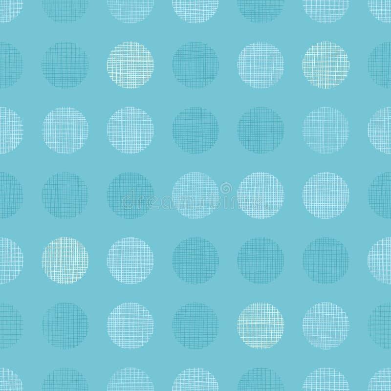 Vector al muchacho azul en colores pastel Dots Circles Seamless Pattern Background de la bahía del vintage con textura de la tela ilustración del vector