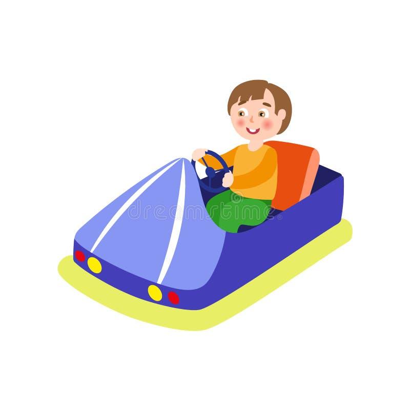 Vector al muchacho que conduce el coche de parachoques de parque de atracciones ilustración del vector