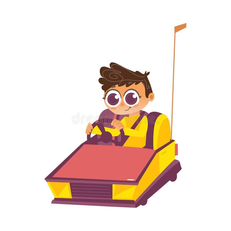 Vector al muchacho que conduce el coche de parachoques de parque de atracciones libre illustration