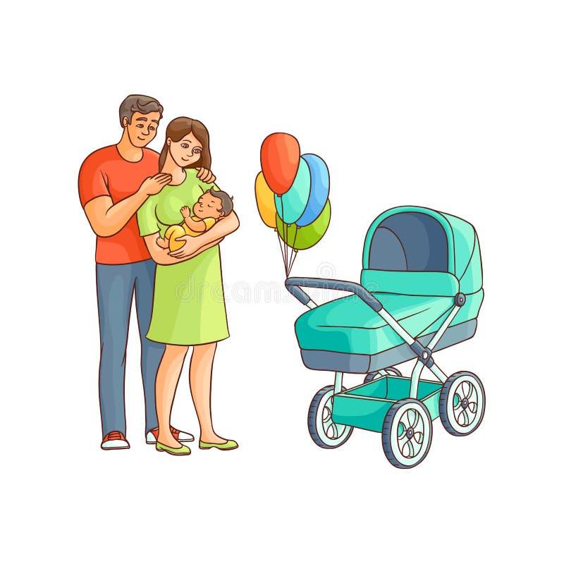 Vector al niño adulto plano de los pares, cochecito de bebé stock de ilustración