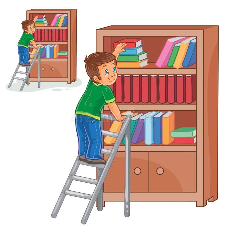 Vector al niño pequeño que se coloca en las escaleras y que apila los libros en un estante para libros stock de ilustración