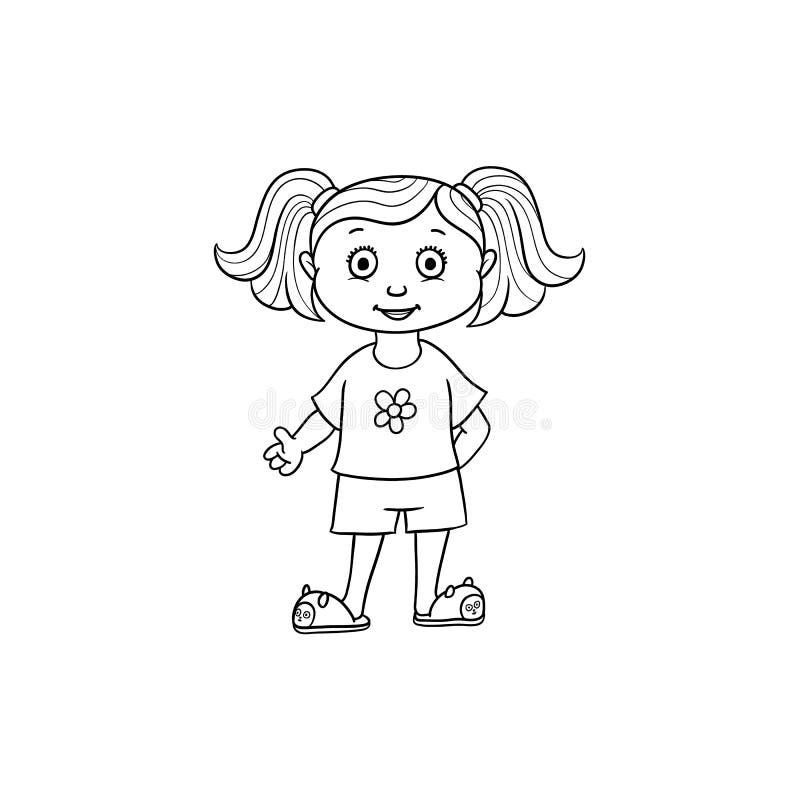 Vector al niño plano de la muchacha de la historieta en ropa divertida stock de ilustración