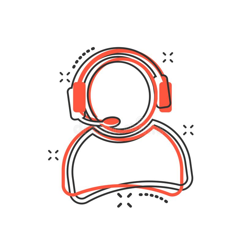 Vector al operador de la historieta con el icono del micrófono en estilo cómico ope stock de ilustración