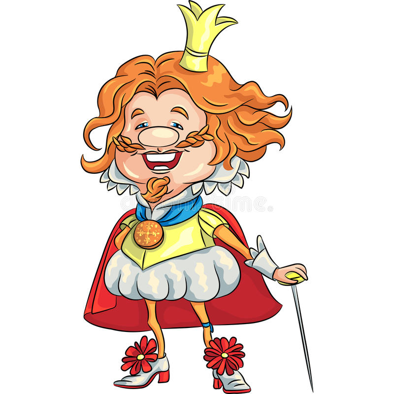 Vector al rey sonriente feliz de la historieta con un cr de oro ilustración del vector