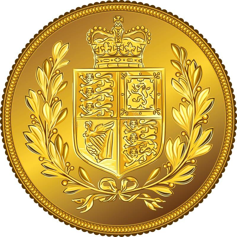 Vector al Sovereign británico de la moneda de oro del dinero con el escudo de armas stock de ilustración