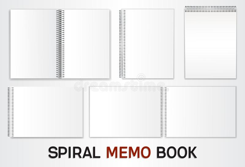 Vector Album Templates. A set of templates for albums, notepads with a metal spiral. Blank sheets to insert your design. Isolated on white background. Vector vector illustration