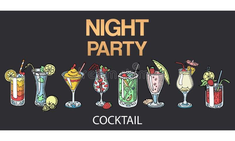 Vector alcohólico de los cócteles aislado en fondo negro Cócteles fijados para el partido de la noche Vidrios con las bebidas alc ilustración del vector