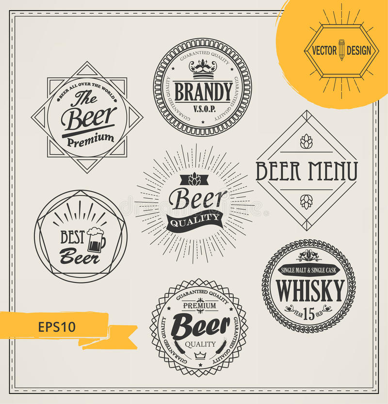 Vector alcohol logos and emblems royalty free illustration