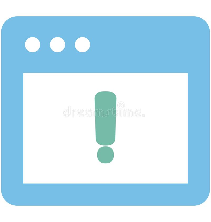 Vector alerta relacionado con las ventanas del explorador Web y completamente editable stock de ilustración