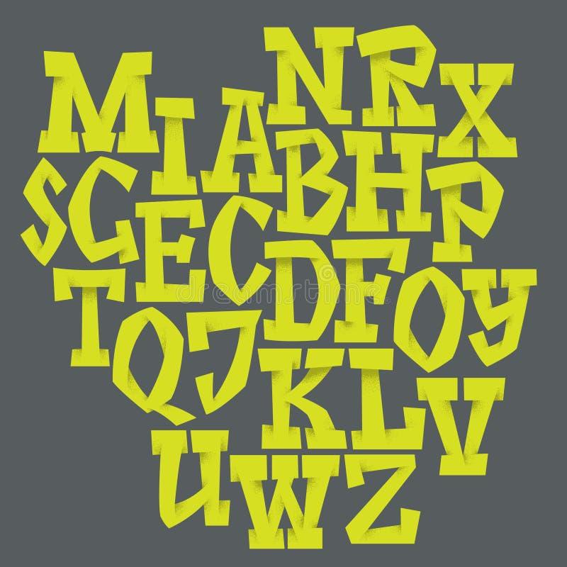 Vector alfabet Hand getrokken brieven stock illustratie