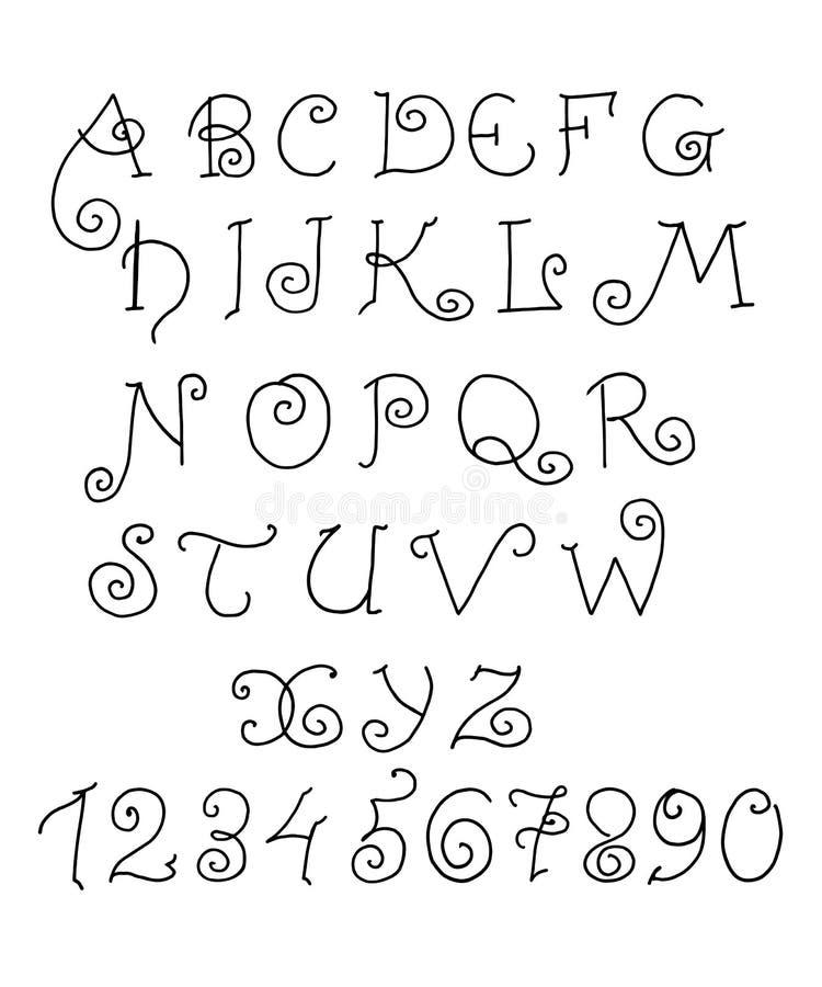 Vector alfabet Hand getrokken grappige letters en getallen royalty-vrije illustratie