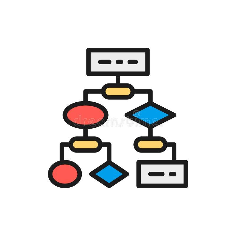 Vector algorithm, coding block schemes, api software flat color line icon. vector illustration