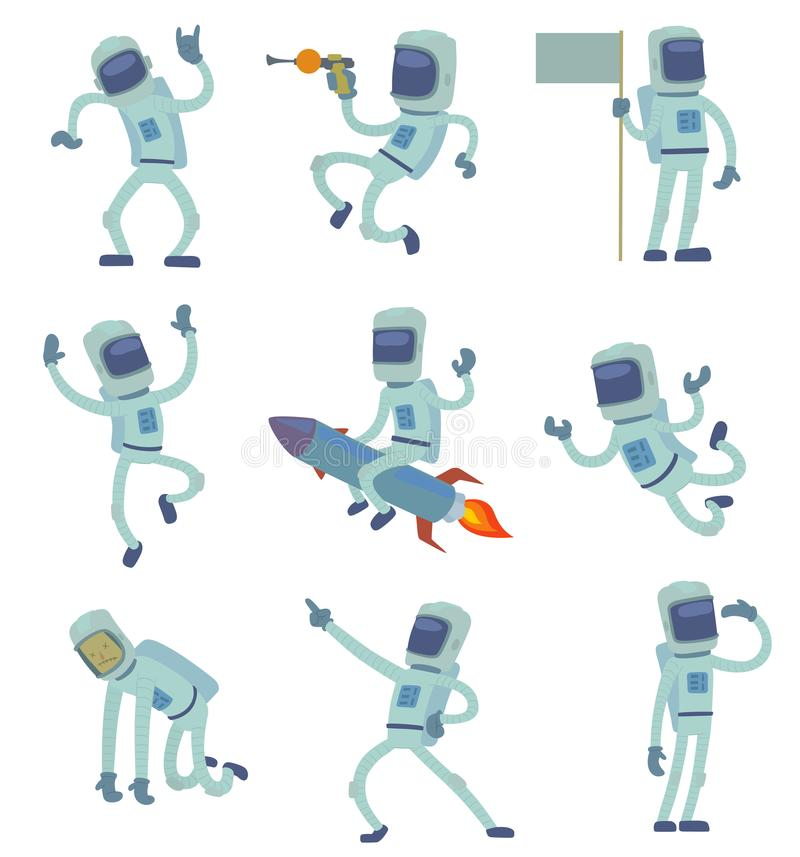 Vector alien character astronaut in space working having fun Isolated on white background space galaxy solar system stock illustration