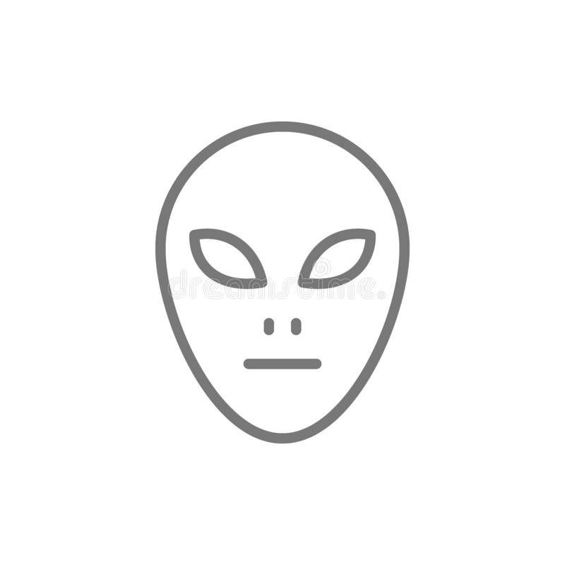 Alien head line icon. royalty free illustration