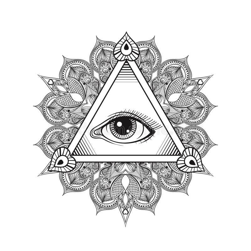 Vector All seeing eye pyramid symbol. Tattoo design. Vintage han stock illustration