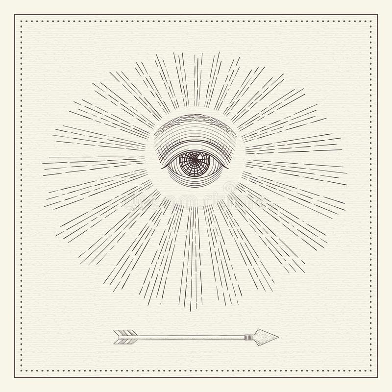 Vector all-seeing eye, eye in the sky with light ray, symbol of the Masons, Illuminati, monochrome hand drawn sketch royalty free stock images