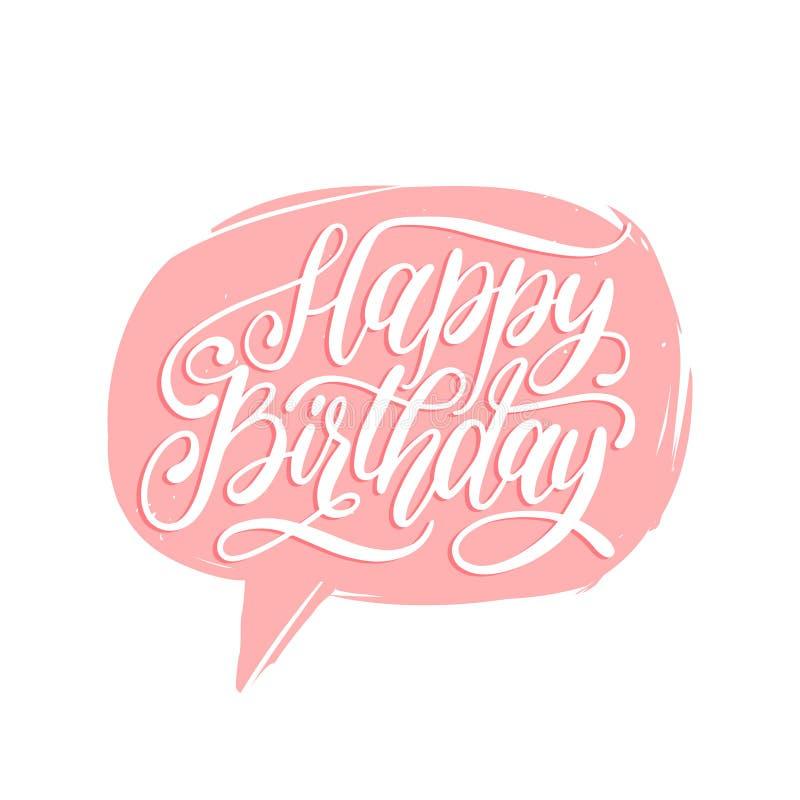 Vector alles- Gute zum Geburtstaghandbeschriftung in der Spracheblase Feiertagsgruß, Einladungskarte, Plakat Kalligraphiehintergr stock abbildung