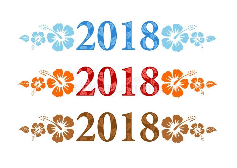 Vector aloha il testo variopinto 2018 con i fiori dell'ibisco illustrazione vettoriale