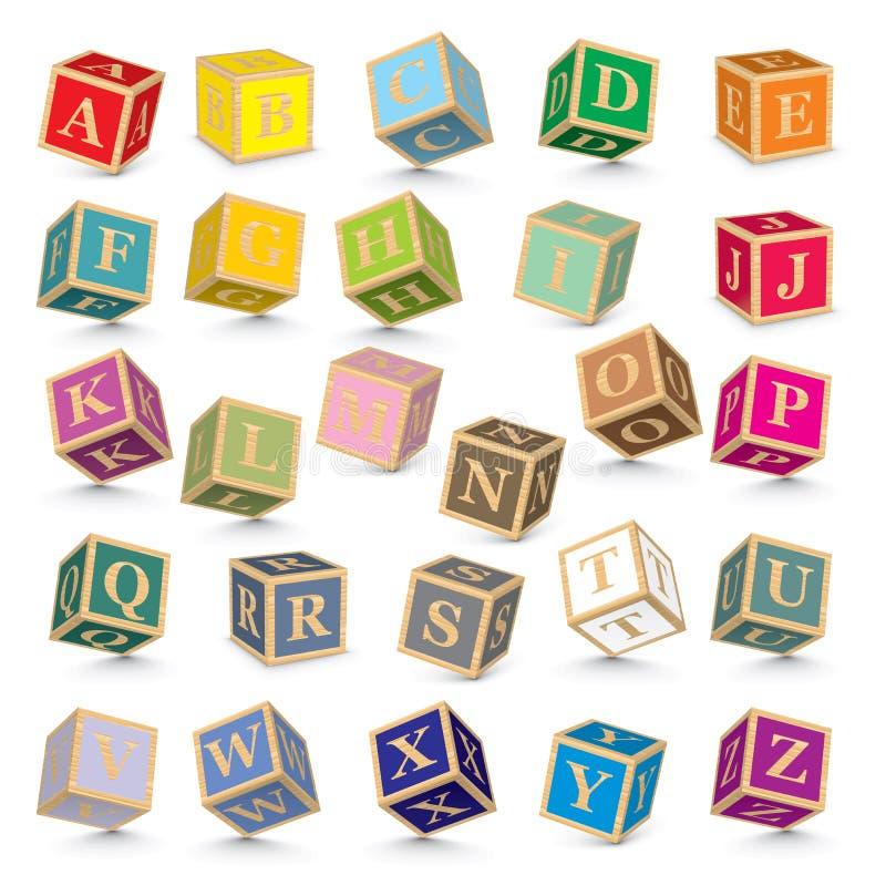 Vector alphabet blocks. Alphabet written with blocks - illustration stock illustration