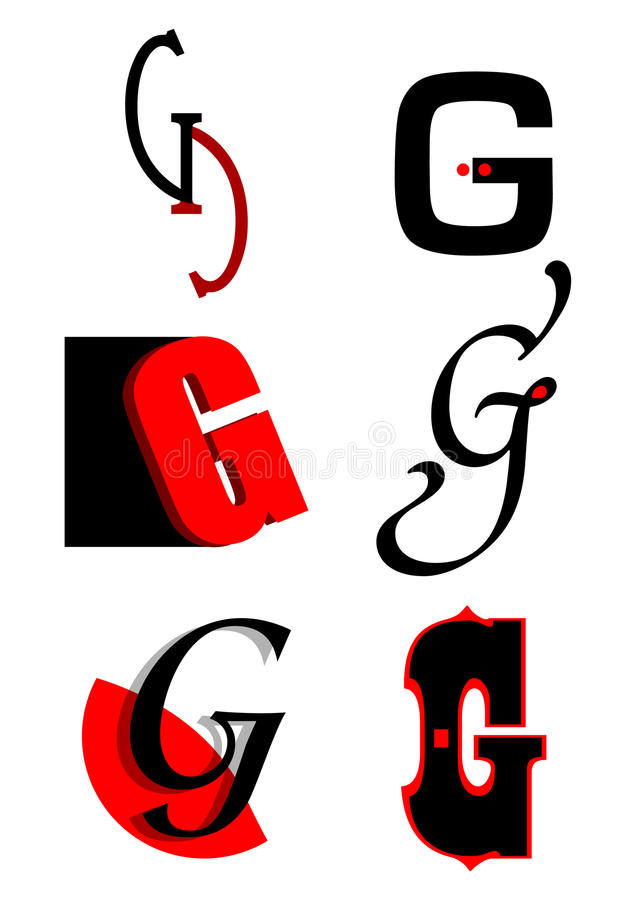 Vector alphabet G logos and icons royalty free illustration