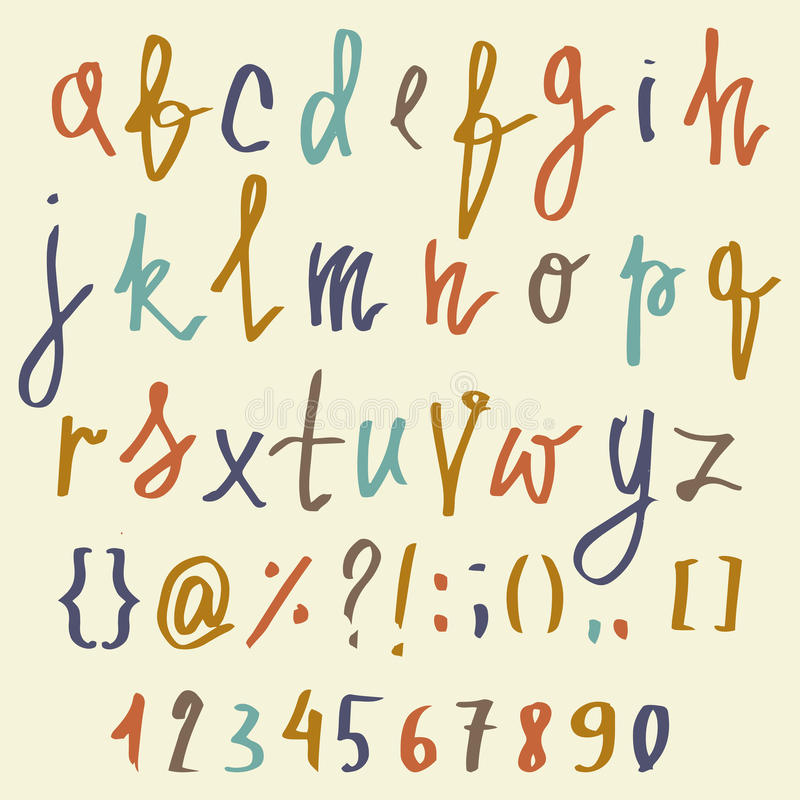 Vector alphabet. Hand drawn letters. Letters of the alphabet written with a brush. ABC Painted Letters and numbers. Modern Brushed vector illustration