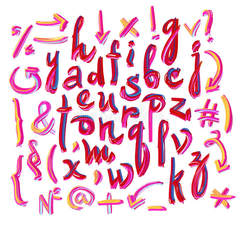 Vector alphabet. Hand drawn letters. Letters of royalty free illustration