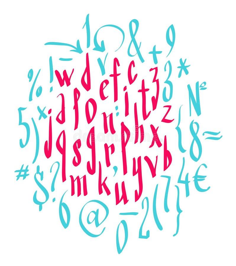 Vector alphabet. Hand drawn letters stock illustration