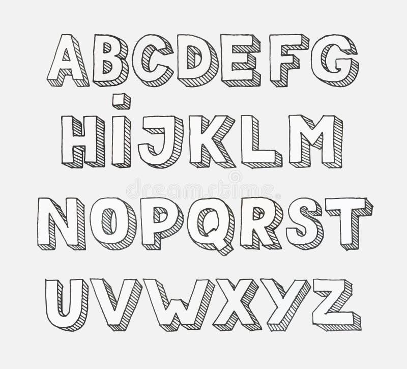 Vector alphabet. Hand drawn letters. vector illustration