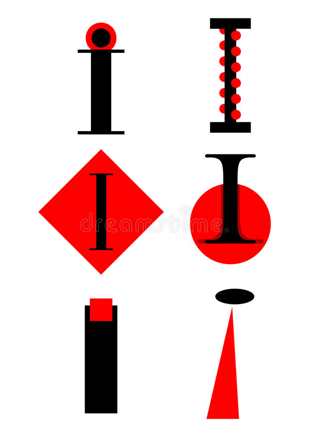 Vector alphabet I logos and icons stock illustration