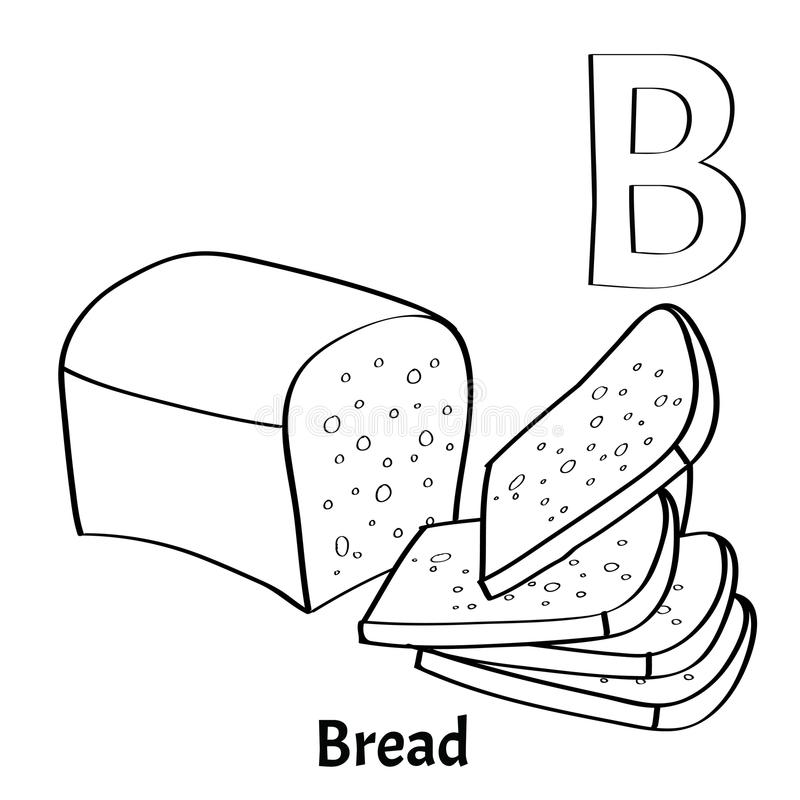 Vector alphabet letter B, coloring page. Bread. Vector alphabet letter B for children education with bread. Isolated. Learn to read. Coloring page stock illustration