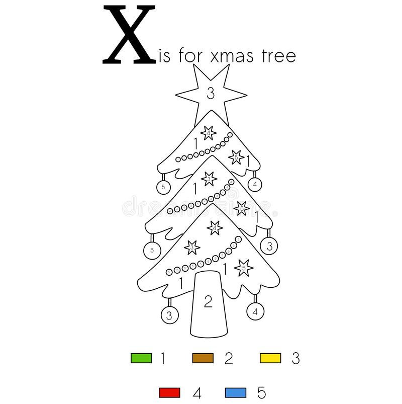 X-mas tree. Vector alphabet letter X, colouring page. Vector alphabet letter X for children education with funny numbering colouring page. This illustration can vector illustration