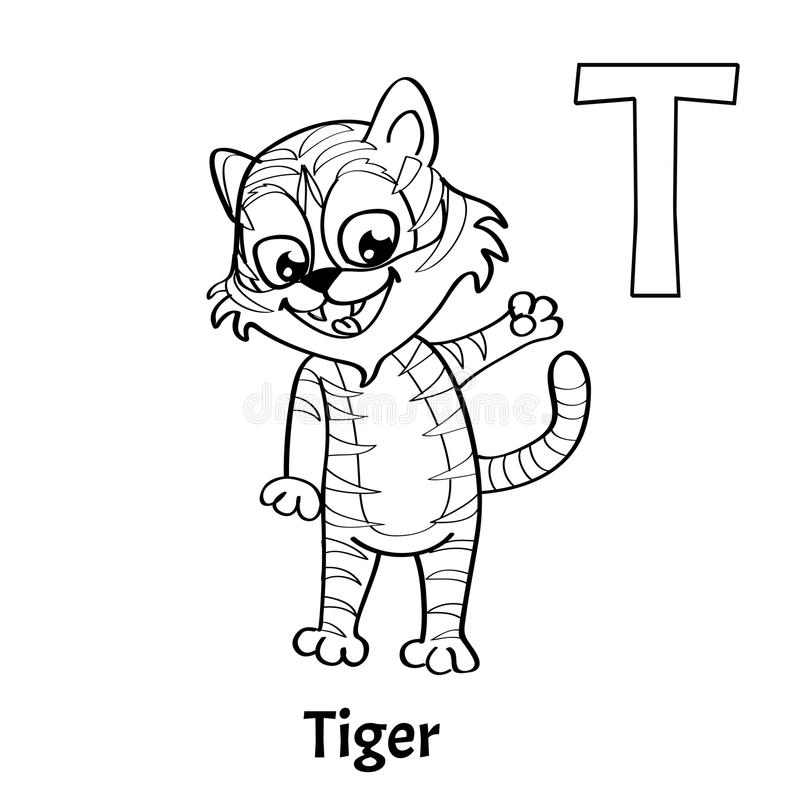Download Vector Alphabet Letter T Coloring Page Tiger Stock
