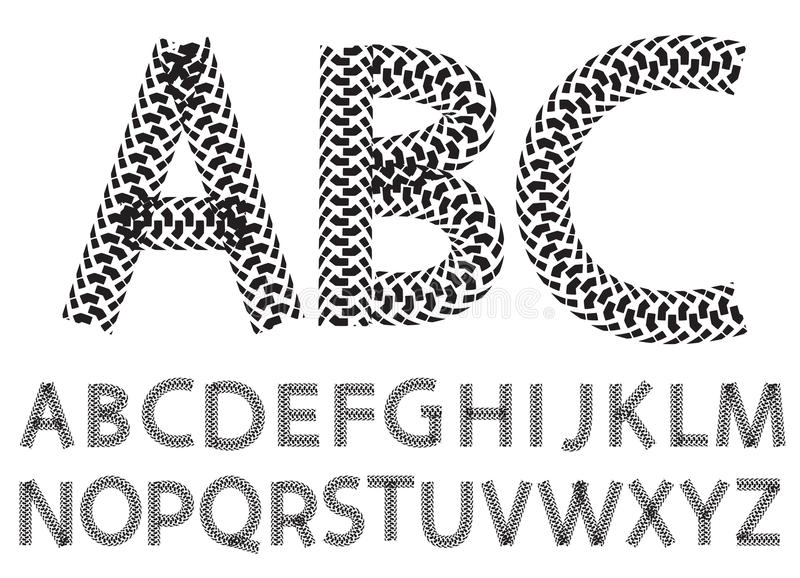 Vector alphabet letters made from motorcycle tire tracks stock illustration
