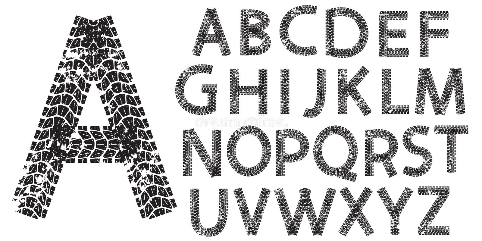 Vector alphabet letters made from motorcycle tire tracks royalty free illustration