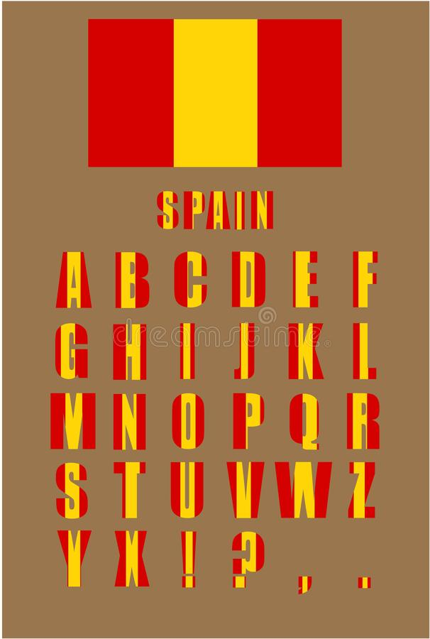 Vector alphabet letters with Spain flag on a brown background royalty free illustration