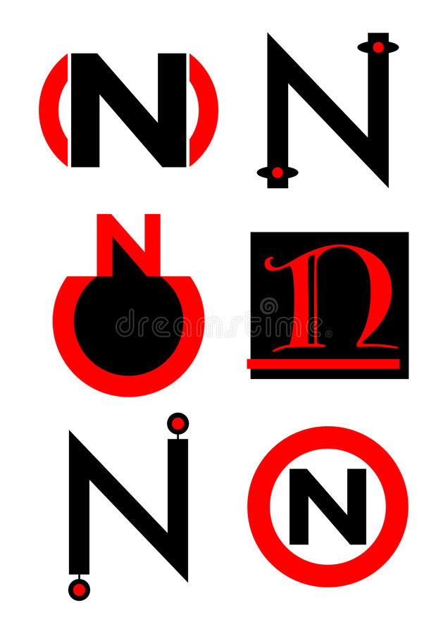 Vector alphabet N logos and icons stock illustration