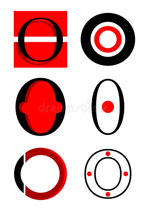 Vector alphabet O logos and icons stock illustration
