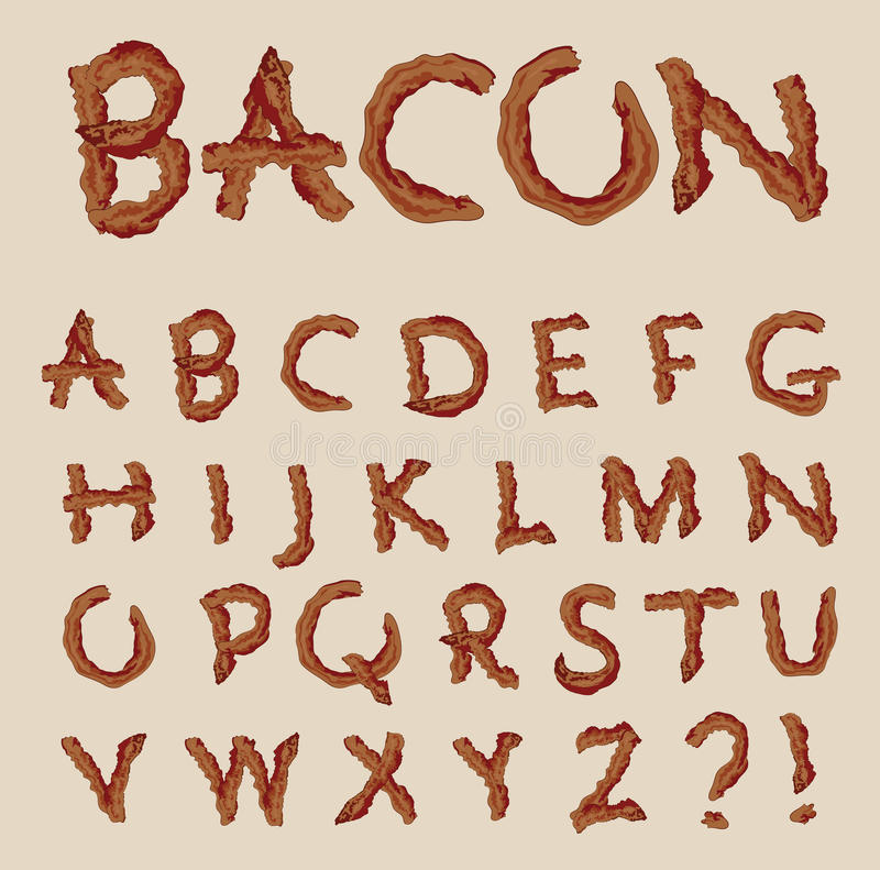 Vector alphabet in the shape of bacon letters. Slices of bacon that spell out each letter of the alphabet stock illustration