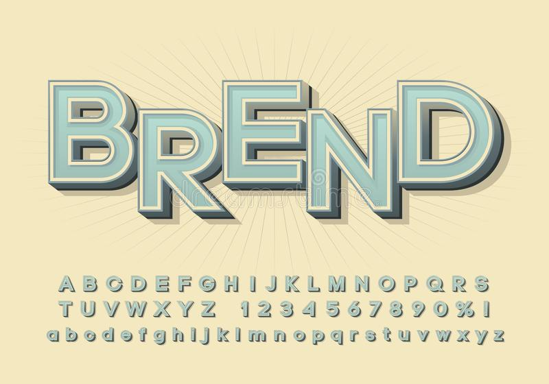 Vector alphabet, three-dimensional font with a shadow, simple letters royalty free stock photography