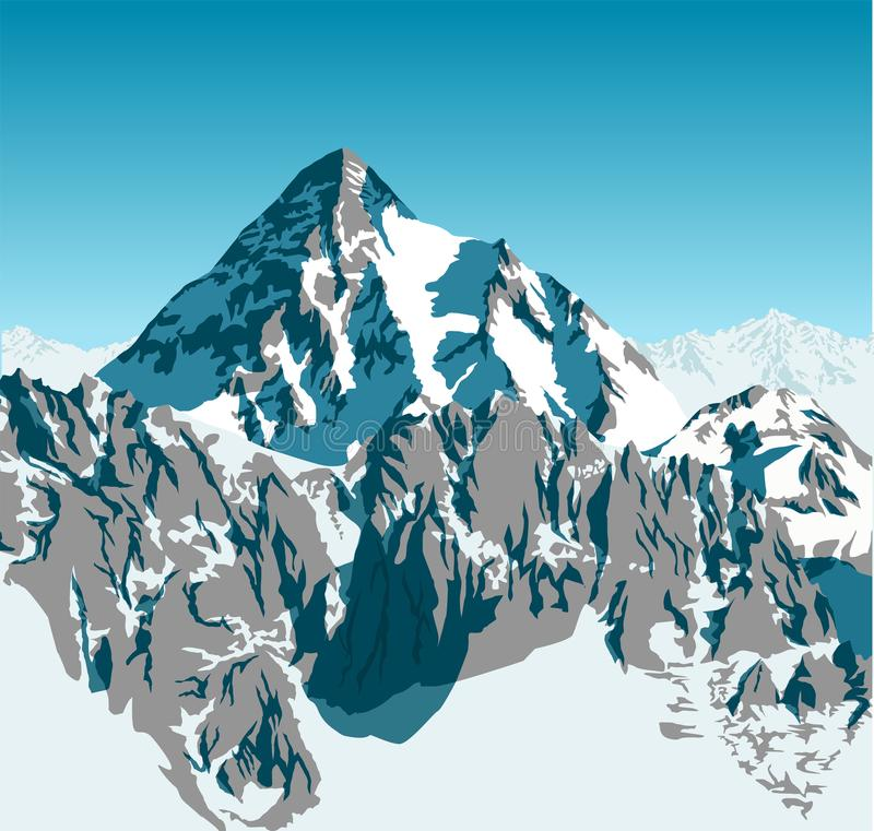 Vector alpine landscape with peaks covered by snow stock illustration