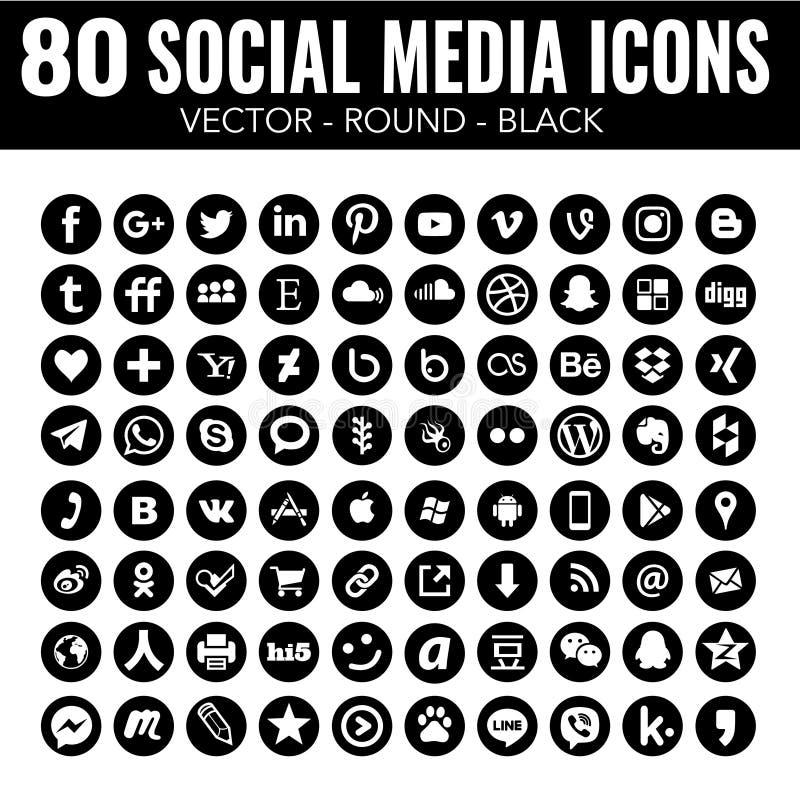Vector alrededor de los medios iconos sociales - blancos y negros - para el diseño web y el diseño gráfico stock de ilustración