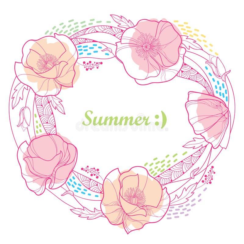 Vector alrededor de marco con el manojo de la flor de la amapola del esquema, florezca, las hojas y las rayas en rosa en colores  ilustración del vector