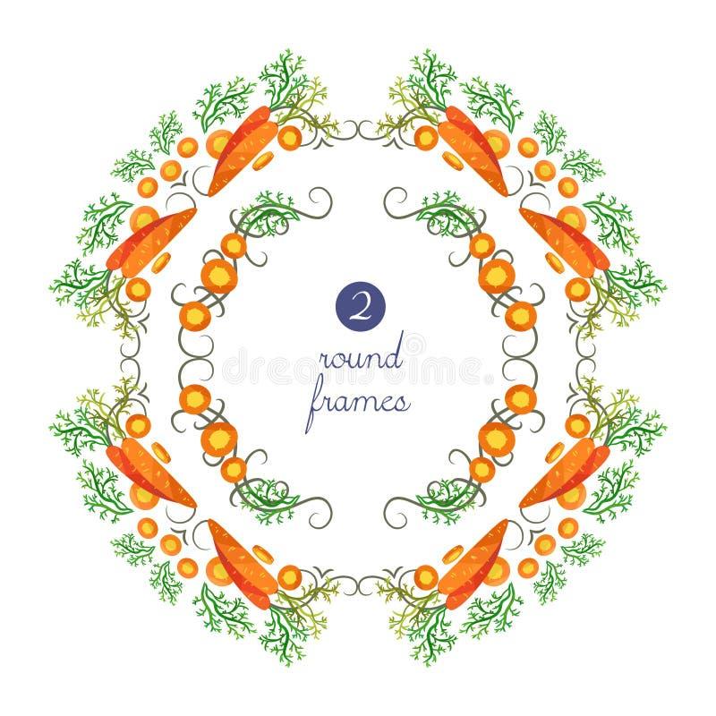 Vector alrededor de marcos con la zanahoria y de rebanadas en estilo de la papiroflexia stock de ilustración