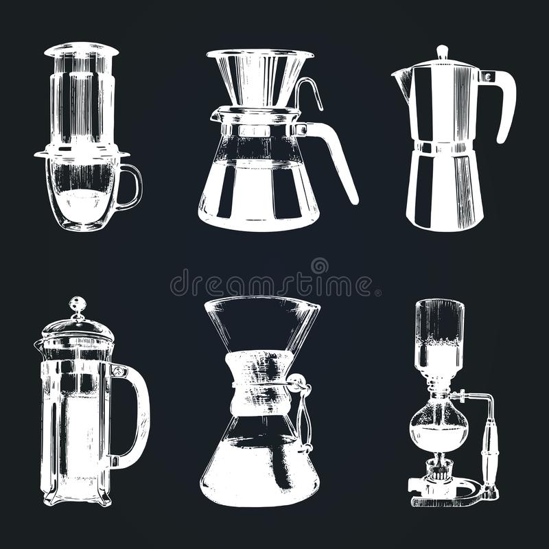 Vector alternative coffee brewing illustrations set. Hand sketched different coffee makers. Cafe,restaurant menu design. stock illustration