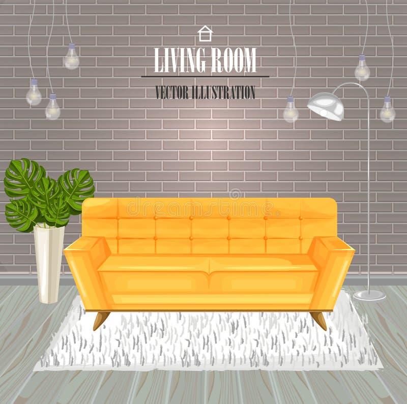 Vector amarillo de la acuarela del sofá de la sala de estar moderna Plantillas del diseño interior stock de ilustración